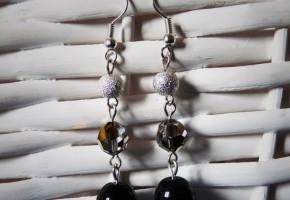 Boucles d'oreille noires argentées - bijoux