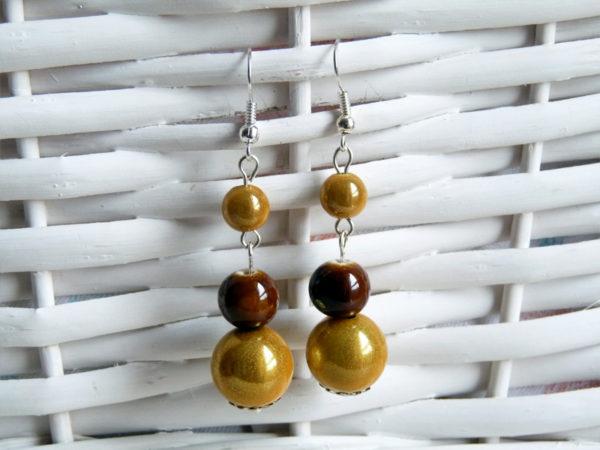 Boucle d'oreilles perles Magique jaune et perles en céramique marron