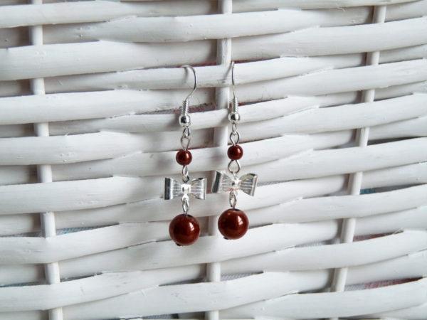 Boucles d'oreilles noeud argenté et perles Magique cuivre