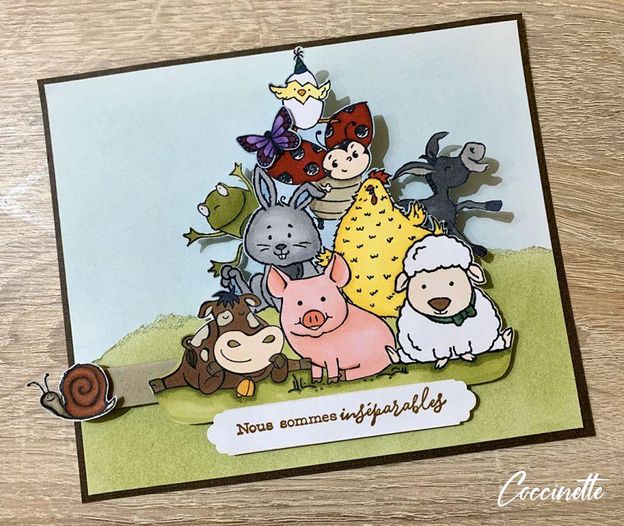 La grenouille et l'âne s'incrustent avec les animaux de la ferme Stampin'up