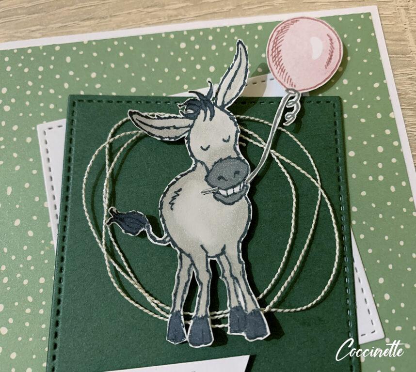 Carte d'anniversaire gentils bourriquets - zoom sur l'âne