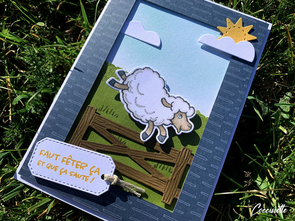 Carte avec un mouton qui saute une barrière.
